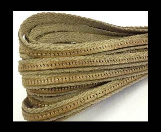 Italian Leather with Fabric - Tortora -10mm