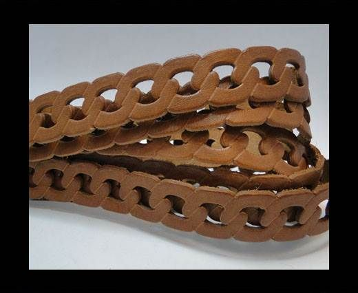 Leather-ChainStyle1-light brown 20mm