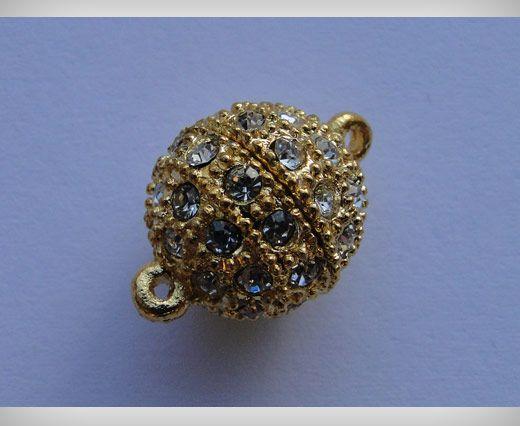 Magnetverschluss mit Kristallen-MG2-12mm-Gold