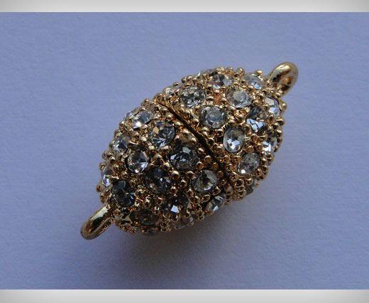 Magnetverschluss mit Kristallen-MG3-18mm-Gold