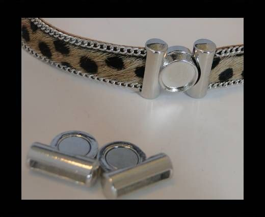 Magnetic Locks for leather Cords - MGL-137-15x2,5mm Steel Finish