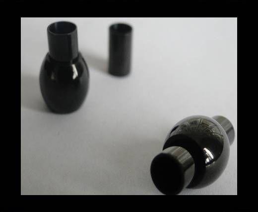 Verschlüsse für Lederkordeln - MGST 01 - 4 mm - Schwarz