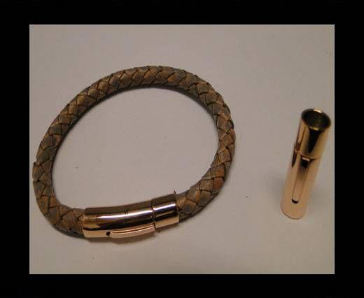 Verschlüsse für flaches Leder - MGST-06 - 4mm - Rose Gold