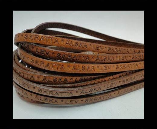 Real Flat Leather-LEV SKRATTA ÄLSKA-5mm-brown