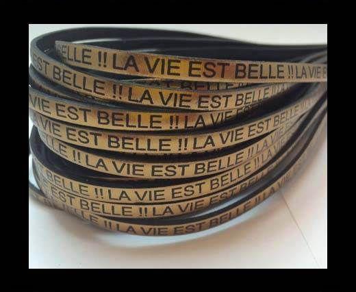 Real Flat Leather-LA VIE EST BELLE-Metallic Bronze