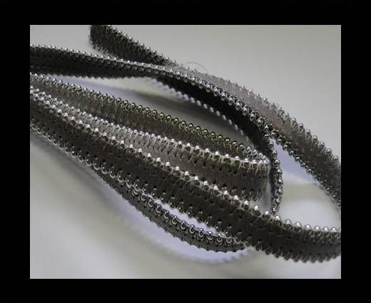 Real Nappa Flat Leather with steel balls chains-10mm-Light Grey