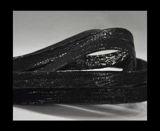 Real Nappa Flat Leather cords -Lizard-Black-10mm