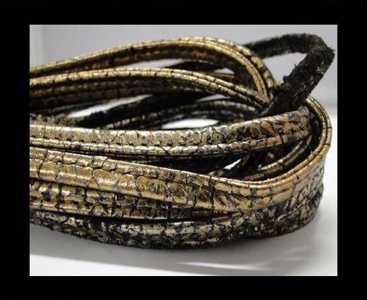 Real nappa leather stitched - 5mm - Snake Style - Gold