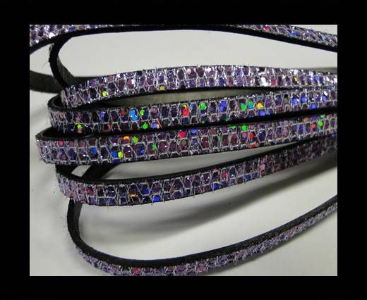 Real Nappa Leather - VIOLET -Glitter Style -10mm