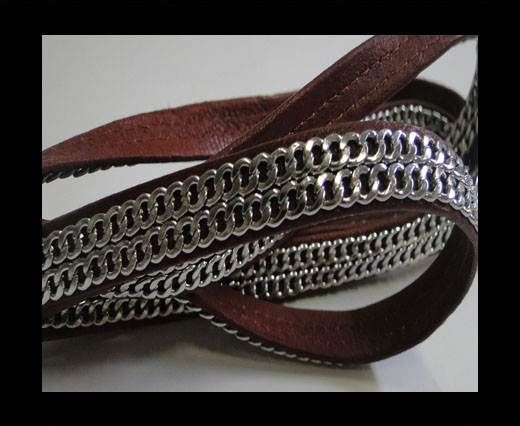 Real Nappa Leather with Double Stainless Steel Chain -10mm-Wine