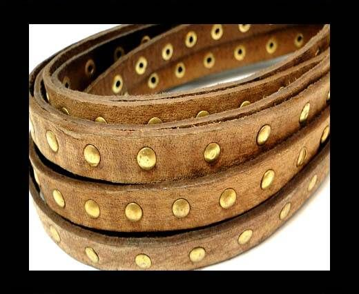 Real Nappa Leather with studs-10mm-VIntage Brown
