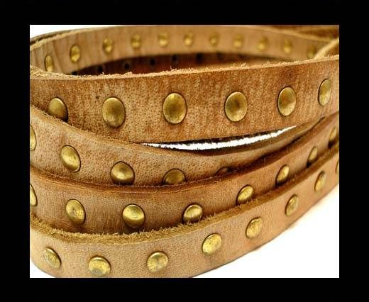 Real Nappa Leather with studs-10mm-VIntage Light Brown