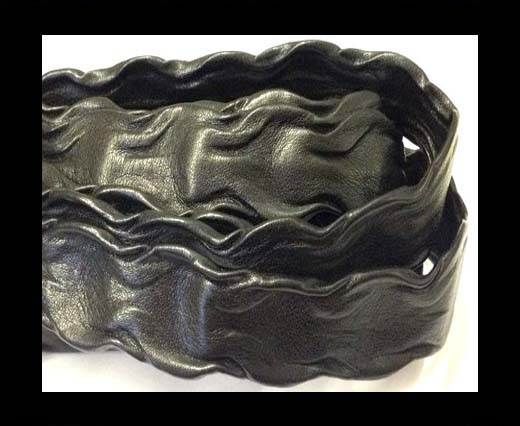 Real Nappa Leather - Wave Style - 20mm-Black