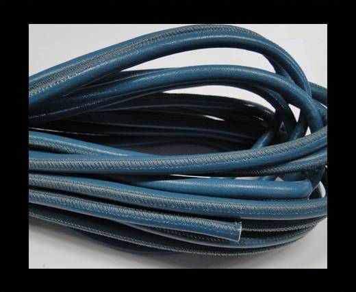 Round stitched nappa leather cord 6mm-Baby Blue