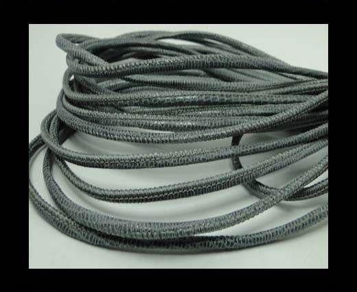 Real Round Nappa Leather cords - Lizard Prints-Grey Lizard- 2.5m
