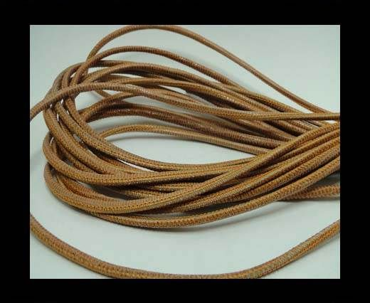 Real Round Nappa Leather cords - Lizard Prints-Orange Lizard- 2.