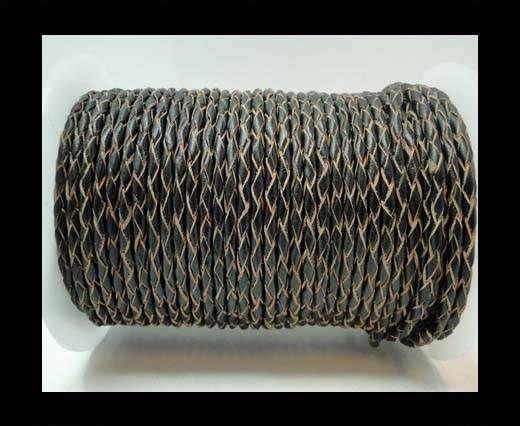 Round Braided Leather Cord-3mm- Matt Black