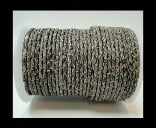 Round Braided Leather Cord-3mm- Matt Grey