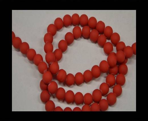 Round Glass beads 8mm - Neon Red