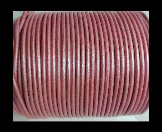 Round leather cord-2mm-METALLIC DARK PINK