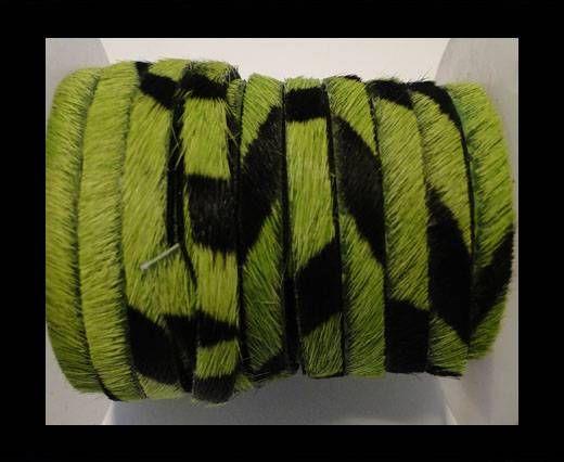 Hair-On Flat Leather- Grass Green Zebra -5MM