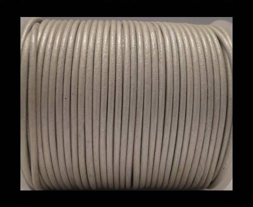 Round Leather Cord SE/R/Metallic Silver - 2mm