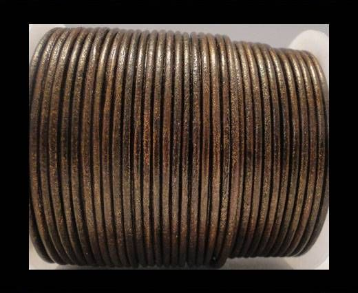 Round Leather Cord SE/R/Metallic Tamba - 2mm