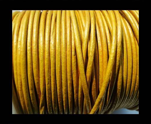 Round Leather Cord SE/R/Metallic Yellow -2mm