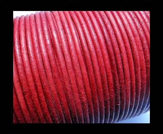 Round Leather Cord SE/R/Vintage Red-2mm