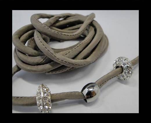 Seidenband mit Baumwollfüllung - 4 mm - Taupe
