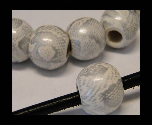 Snake Wooden Beads- Silver white -16mm,Hole 6mm