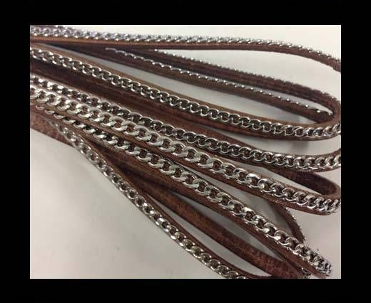 Stainless steel chain on leather-style 14-5mm-brown