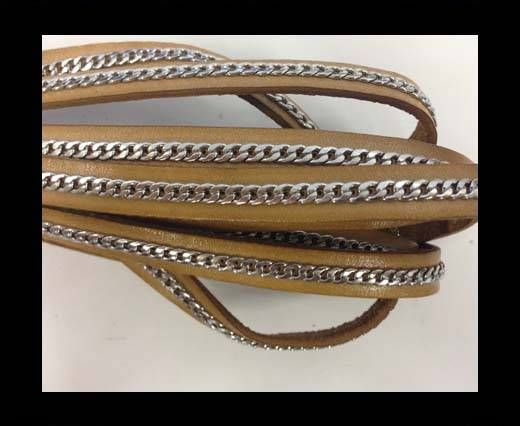 Stainless steel chain on leather-style 14-10mm-camel