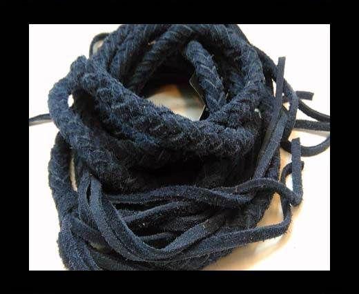 Suede Braided Belts with tassels - 8mm round -Navy Blue