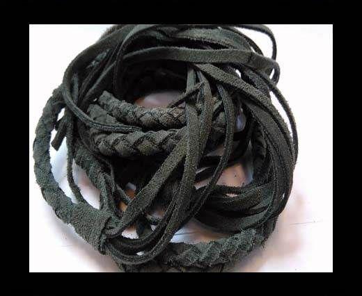 Suede Braided Belts with tassels - 8mm round -Dark Grey