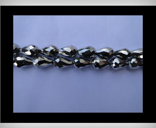 Water Glass Beads -8mm*11mm-Metallic Silver
