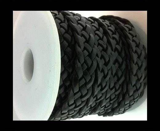 10mm Flat Braided- SE-black- 5 ply braided Leather Cords
