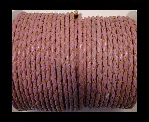 Round Braided Leather Cord SE/B/2014-Pink - 3mm