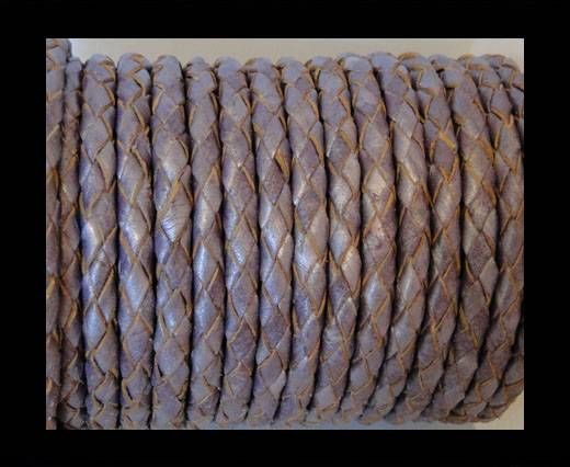 Round Braided Leather Cord SE/M/Metallic Purple - 5mm