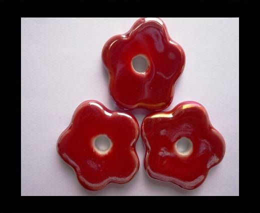 CB-Ceramic Flower-Small Flower-Red AB
