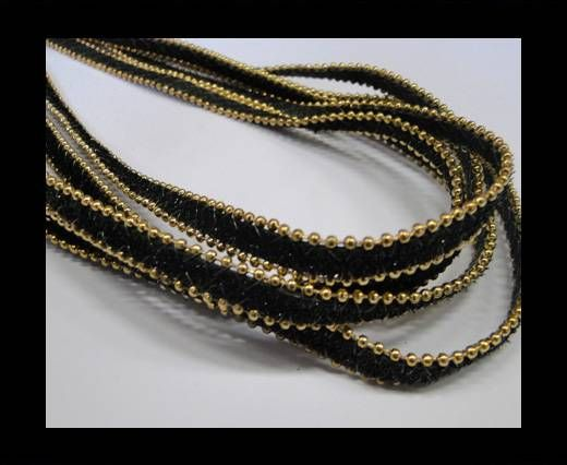 synthetic nappa leather with chains-10mm-Black