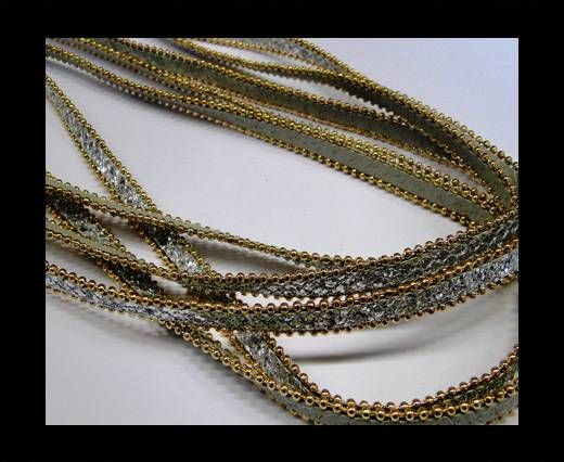 Eco leather with chains-10mm-Silver