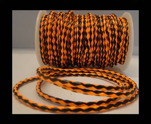 Eco Round Braided Leather - 4mm - Neon Orange and Black