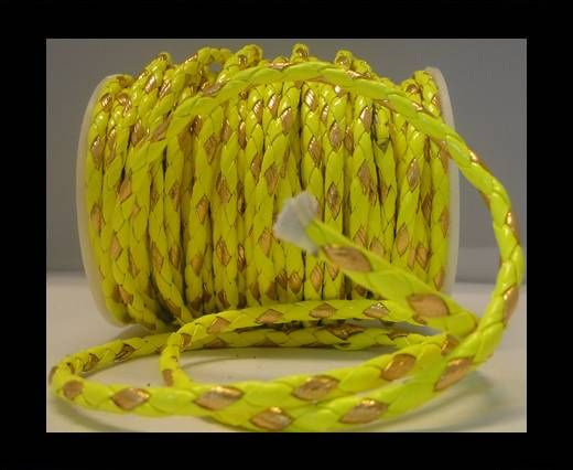 Eco Round Braided Leather - 4mm - Neon Yellow and Gold