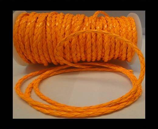 Eco Round Braided Leather - 4mm - Neon Orange