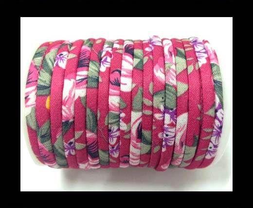 Fabric with flowers round-4mm-Fuchsia