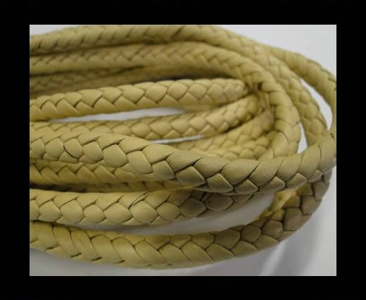 Fine Braided Nappa Leather Cords-6mm-LATTE