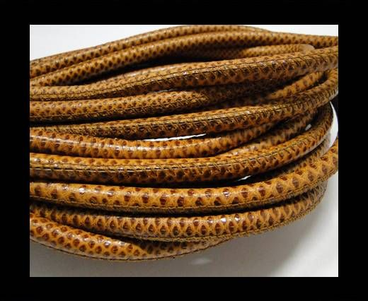 Fine Nappa Leather-Karung snake - Brown-6mm