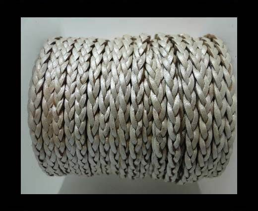 Flat 3-ply Braided Leather-SE-Metallic Silver-3MM