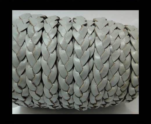 Flat 3-ply Braided Leather-SE-Light Grey-10MM